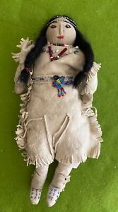 "Vintage NATIVE AMERICAN 12"" HANDMADE Cloth Leather DOLL -beadwork"