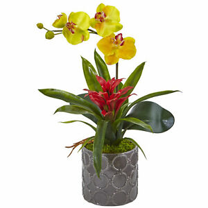 Mini Phalaenopsis Orchid Bromeliad Gray Vase Faux Floral Nearly Natural Yellow