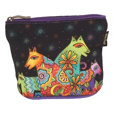 Laurel Burch floral Green Orange Dog And Doggies Mini Cosmetic Zipper Case New