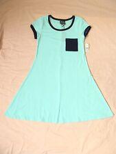 Size Medium No Comment Aqua Ribbed Knit A-Line Tunic Dress; Navy Pocket & Trim