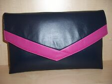 OVER dimensionati Navy Blue & Fucsia Rosa In Finta Pelle Pochette fatta in UK.