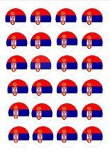 24 X SERBIA SERBIAN FLAGS EDIBLE CUPCAKE TOPPERS CAKE WAFER RICE PAPER OLYMPICS