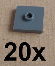 LEGO 20 DarkGrey Tiles 2 x 2 with Cam 87580 NEW Tile Dark Bluish Gray