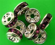 1 6mm Swarovski Rondelle -- Silver Plated/Amethyst