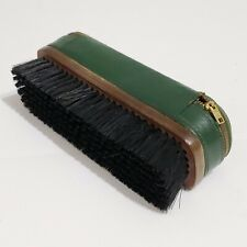 "Vintage 7"" Shoe Shine Polish Brush w/Genuine Leather zippered storage case-Green"