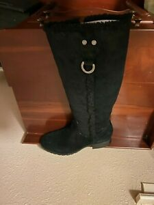 NIB Marc Fisher Black Suede Tall Riding Knee High Boots Size 10M