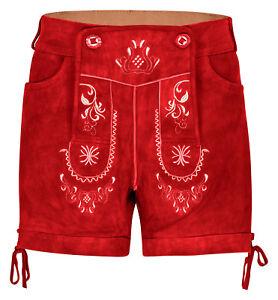 HIRSCHBERGER Damen Trachten Lederhose kurz Ziegenleder rot