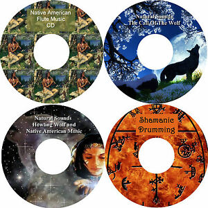 Shamanic Drumming & Native American Music & Natural Sounds Wolf Wolves on 4 CDs
