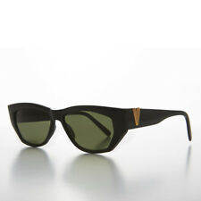 Black Chunky Vintage Sunglass with Gold Bling Green Lens- Val
