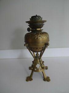 Antique Ornate Brass Oil Lamp Base - Lampe Belge - Patent No 11285-1884