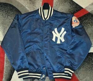 VTG 70s Starter New York Yankees Nylon Satin Jacket Navy Large Made In USA