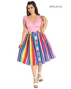 Hell Bunny Retro 50s Pin Up Skirt Harmony Over The RAINBOW Stripe All Sizes