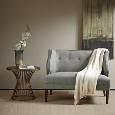 Silver Grey Blues Tufted High Back Loveseat Settee