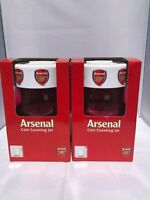 2 x Arsenal Counting Coin Jars - 2 x Arsenal Money Boxes - Ideal Football Gift