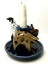 Handmade Farm Pottery Candle Holder Sheep Chicken Pig Whimsical Clay Sculpture