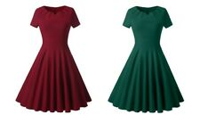 Ladies Vintage Style 1940s Rockabilly Evening Swing Skaters Tea Dress Red/Green
