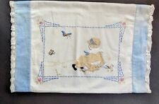 """New listing Vintage Sweet Embroidered Child With Bird & Butterfly Pillowcase Sham 14X21"""""""