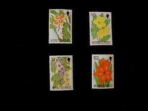 Montserrat Flowers Stamps x 4 - 40c, 50c, $1 & $2
