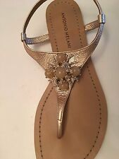 Antonio Melani Gold Thong Sandal With Bling Bead Accent - Size 9 M - NEW