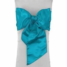 LA Linen Pack-10 Bridal Satin Chair Bows Sashes 8 by 108-Inch, Turquoise
