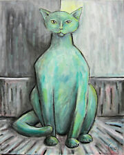 BIG GREEN CAT oil painting pet 16x20 canvas modern art original signed CROWELL