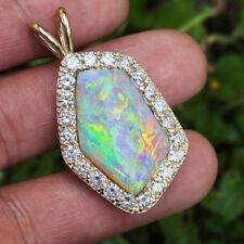 Australian Opal Pendant with Diamonds 14K Yellow Gold 14.45ctw Certified