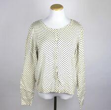H&M 50s Vintage Style Cream & Black Polka Dot Pinup Rockabilly Cardigan Large