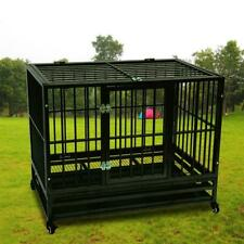 """New listing 42"""" Heavy Duty Dog Cage Crate Kennel Metal Pet Playpen Portable with Tray Black"""