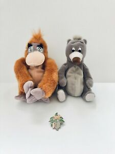Vintage Disney Jungle Book Bean Plushies & Countdown to Millennium Pin -Lot of 3