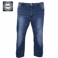 Mens Kam Big Plus Size Regular Fit Stretch Dark Wash Fade Jeans 44 48 50 52 54