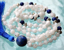 Exclusive Moonstone & Lapis Lazuli Hand knotted 108 Mala Beads Nirvana Necklace