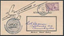 1947 Newfoundland #270 5c Cabot FDC, Unusual Cachet, Bonavista NFLD