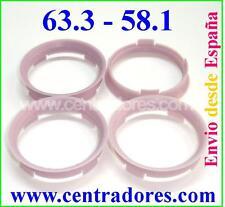 4 CENTRADORES BAGUES DE CENTRAGE JANTES 63.3-58.1 ALFA ROMEO CITROEN FIAT LANCIA