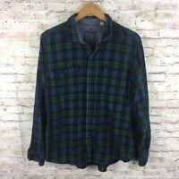 Woolrich Mens XL Blue Green Plaid Button Up Long Sleeve Flannel Shirt