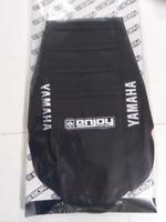 LOGO Enjoy MX Ribbed Seat Cover All Black Black Ribs Yamaha YZ 125 250 02 > 2021
