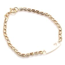 """14K Yellow Gold Cuban ID Bracelet 3.5mm 5.5-6/"""" Free Engrave Name Plate Baby Kid"""
