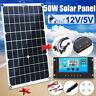 50W 12V Dual USB Solar Panel Battery Charger Car Boat W/ 10In1 Cable+Controller