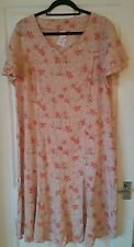 Daxon Beautiful Pink Floral Cool Summer Smart Work Dress BNWT Size 22