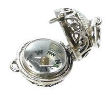 VINTAGE SILVER OPENING COMPASS ORB FOB CHARM
