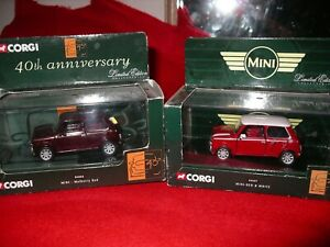 Corgi Mini x2 40th anniversary red & white, mulberry red boxed
