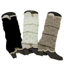 Knitted Lace Trim Long Boot Socks Knee High Leg Warmers Comfy Warm Winter Wear