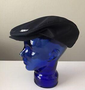 Vtg Nike Black Paperboy Hat L Newsboy Snap Front Cap Fitted Cabbie Large