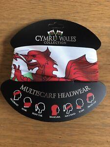 Welsh Flag Dragon design MULTISCARF   Face Covering   Bandana, WALES CYMRU