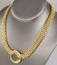 "16-1/2"" Vtg NECKLACE 18KT Gold Diamond Sapphire Roman Coin Alessandria Licinius"