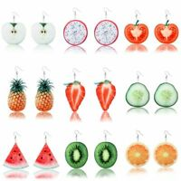 Funky Fruit Salad Dangle Earrings Cute Kitsch Kawaii Cool Novelty Girls Gift