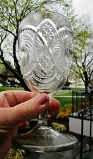 """1906 EAPG Victorian Antique 5.75"""" Goblet CANNONBALL PINWHEEL CALEDONIA US GLASS"""