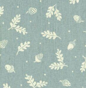 """VANESSA  ARBUTHNOTT FABRIC """"Acorn & Leaf"""" 2 METRES DUCK EGG LINEN BLEND"""