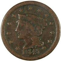 1847 1c Braided Hair Large Cent Penny Coin Genuine