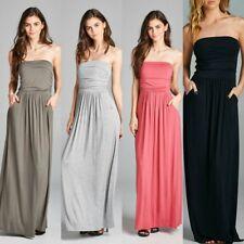 women Strapless Ruched Maxi Dress w/Pockets Empire Waist black grey khaki rose