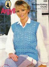 Argyll Machine Knitting Chunky Leaflet 435 LADY'S SLIPOVER Vest 1984 32-42 in